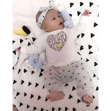3pcs!2018 New Autumn baby girl clothes set cotton T-shirt+pants+Headband 3pcs Infant clothes newborn baby boy clothing set