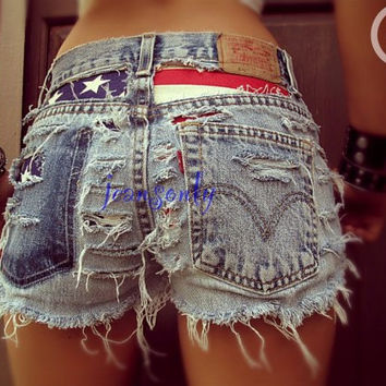 Shop American Flag High Waisted Denim Shorts on Wanelo