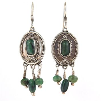 Ruby Zoisite Sterling Silver Boho Drop Earrings, Vintage, 1930s to 1980s