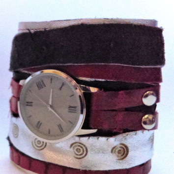 Multi Strap Leather Cuff with Watch