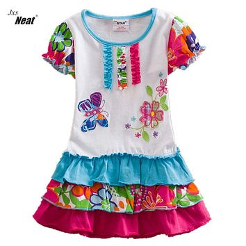 Girls summer dress NEAT round neck cotton kid clothes printing butterfly pattern fashion flower princess sleeveless dress S66306