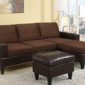 3 pc chocolate microfiber two tone apartment size sectional sofa with reversible chaise and faux leather ottoman