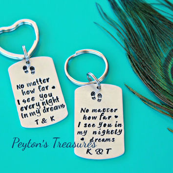 Long Distance Keychains- Long Distance Relationship Hand Stamped Key Chain Set- Military- Deployment- Husband and Wife- Boyfriend Girlfriend