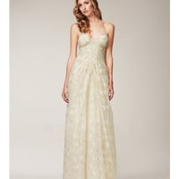 Mignon Spring 2014 Dresses - Antique Ivory Gathered Floral Print Prom Dress