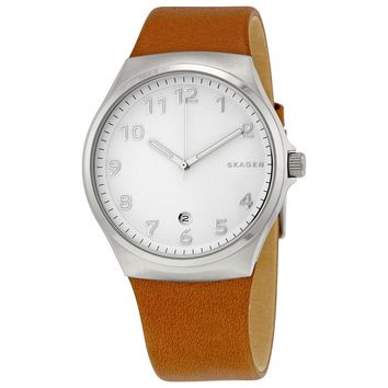 Skagen Sundby White Dial Brown Leather Mens Watch SKW6269