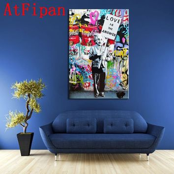 "AtFipan 1Pcs Banksy Art""Love Is The Answer""Canvas Painting Einstein Holding a Sign Graffiti Street Wall Pictures For Living Room"