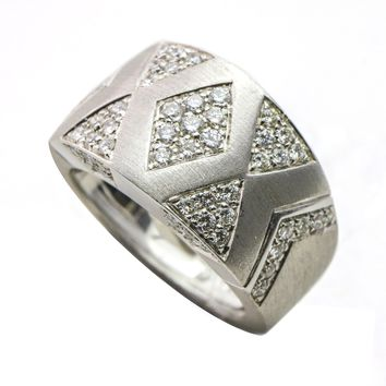 Andreoli Wide Diamond Band Ring in 18k White Gold Size 8