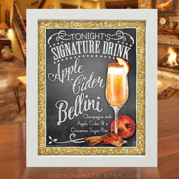 Thanksgiving Decoration | Signature Drink Sign | As-Is or Personalized Wedding Keepsake | Apple Cider Bellini