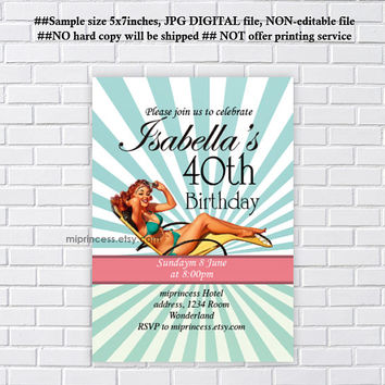 Pool party, Bachelorette Party, Birthday party invitations, Vintage, bridal shower invitation,  Pinup girl , Retro girl,  card 1150