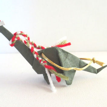 Origami Dinosaur Ornament, Brontosaurus with Santa Hat and Scarf, Olive Green