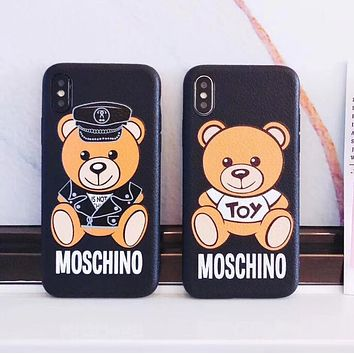 Moschino Trending Stylish Bear Letter Pattern Silicone iPhone Phone Cover Case For iphone 6 6s 6plus 6s-plus 7 7plus iPhone 8 8 Plus iPhone X I13218-1
