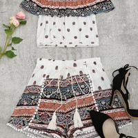 Flounce Tribal Print Top and Shorts Set