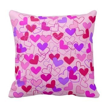 Cute Girly Pink Purple and Red Hearts Pattern Throw Pillow- Cute pillows, Valentine's Day gift,home decor, bedroom,for girls,for teens