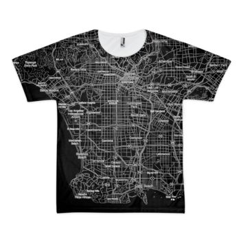 Los Angeles Night Map Short sleeve men's t-shirt (unisex)