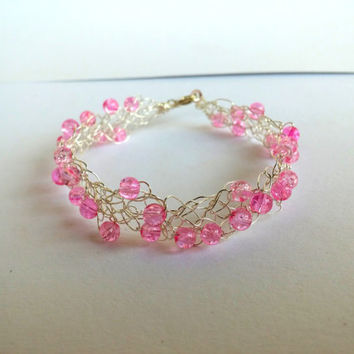 FREE SHIPPING Wire crochet bracelet with glass beads: Barbie pink