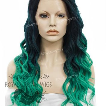 """24"""" Synthetic Lace Front with Wave Texture in Dark Green to Light Green Ombre"""