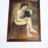 Authentic,Vintage Big Size Painting,Oil on Board,Female Nude Study Exceptional