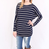Stripe Dolman Tunic - Navy