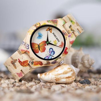 Women's BOBO BIRD Bamboo Butterfly Quartz Watch.   See Images For All Specifications.   ***FREE SHIPPING***