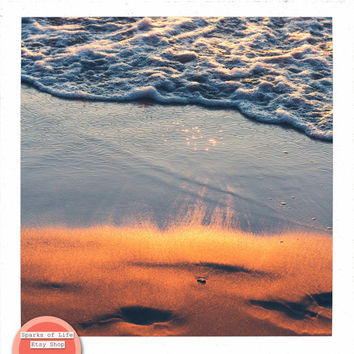 Square digital download, beach printable, sunset reflection on water, Lake Michigan wall art, fine art photography, summer, sand, home decor