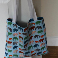 Elephant print Fabric Tote Bag fully lined and machine washable