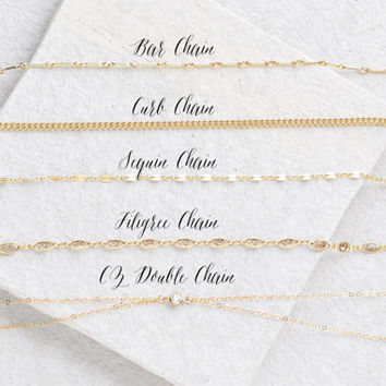 Gold Choker Necklace, Choose Your Style, Collar Necklace, 14K Gold Filled Choker, Fancy Chain Choker, Choker Chain