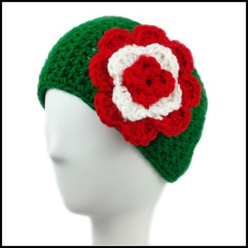 Green Earwarmer with Red & White Flower