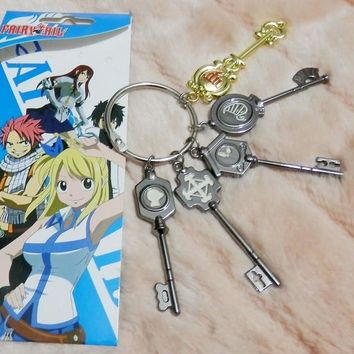 anime Fairy Tail Lucy Cosplay Key chain Scale & Free Pink Tattoo Heartfilia Sign of the Zodiac Gold Key accessories