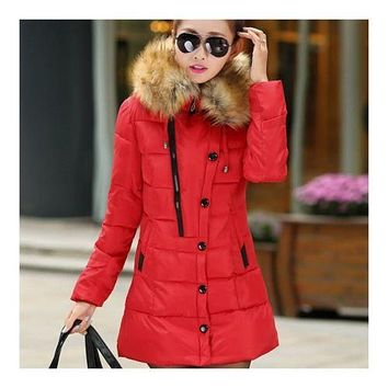 Winter Woman Slim Middle Long Plus Size Down Coat   red