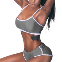 Summer Sexy 2pcs Women Sexy Solid Vest+Shorts Pants Sets  Outfits