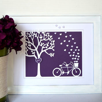Tandem Bicycle Art with Customizable Colors - Wedding Gift - Anniversary Gift - Bicycle Wedding - Tandem Bike - Tree Wedding - 3D Art