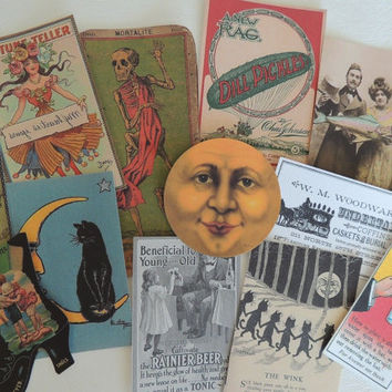 Lot of 12 ... Bizarre & Weird VINTAGE Die Cuts 4 Scrapbooking ~ B2 ~ Free Shipping!