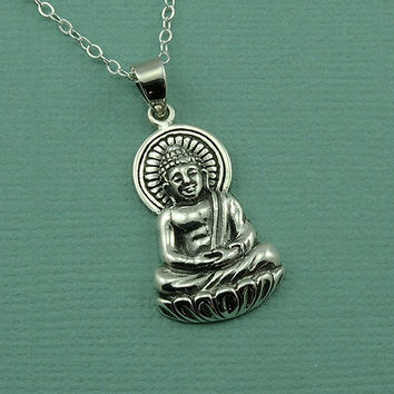 Large Sitting Buddha Necklace - sterling silver yoga jewelry - om lotus necklace