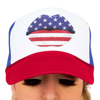 4th of July Hat, American Flag Lips Kiss Hat, Funny Fourth of July Trucker Hat, American Stars & Stripes Snapback Trucker Hat, USA, America