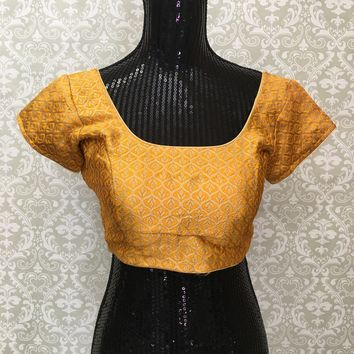 Party Wear Brocade Blouse Yellow