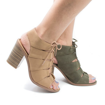 Quince Tan Pu by Soda, Cut Out Corset Lace Up Sling Back Stacked Block Heeled Sandals
