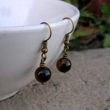 Prosperity, Genuine Tiger's Eye Gemstone Earrings