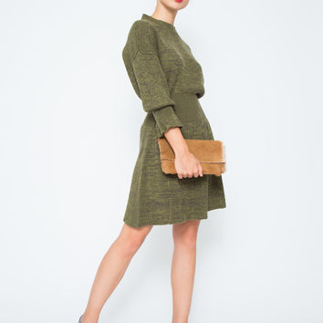 SONIA BY SONIA RYKIEL | Military Peplum Dress-Olive