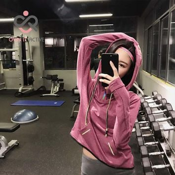 Women Long Sleeve Quick Dry Yoga Wear Training Fitness Hooded Jacket