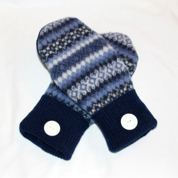 Wool Felted Mittens - Upcycled Wool Mittens  - Sweater Mittens - Blue  Mittens - Womens -  Size Medium/Large