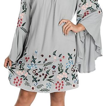 Umgee Women's Cool Grey Off the Shoulder w/ Floral Embroidery Dress