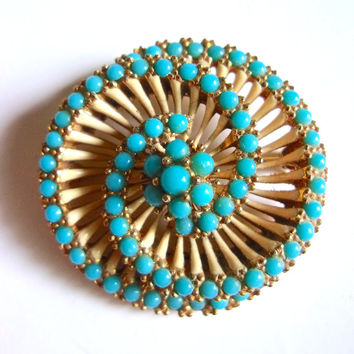 CINER Turquoise Milk Glass Swirl Brooch, 3 Tiers, Gold Plated, Vintage