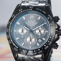 ROLEX street fashion men and women fashion retro luminous waterproof quartz watch black
