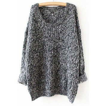 Grey Long Sleeve Loose Sweater one size (Size: M, Color: Grey) = 1920494020