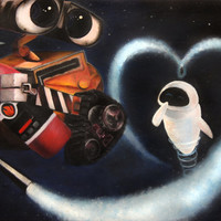 Wall-E and Eve in Space Print of Original Oil Painting by Lindsey - Disney Pixar - Robots in Love - Love Story - Robots with Emotions