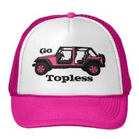 Go Topless pink four door Jeep wrangler hat from Zazzle.com