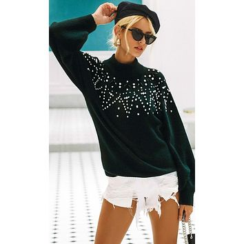 At The Chalet Long Lantern Sleeve Sequin Bead Pattern Mock Neck Pullover Sweater