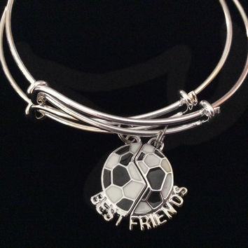 Best Friends Soccer ball Expandable Silver Charm Bracelet Adjustable Bangle
