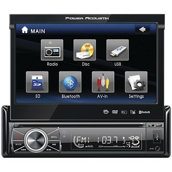 "Power Acoustik 7"" Single-din In-dash Motorized Touchscreen Lcd Dvd Receiver With Detachable Face (with Bluetooth)"
