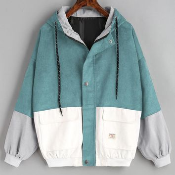 Women Long Sleeve Corduroy Patchwork Oversize Jacket Windbreaker Coat Overcoat